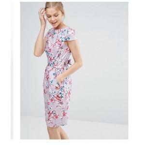 Closet Tie Back Midi Dress with Cap Sleeve